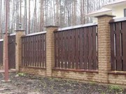 Изготовим и установим забор на кирпичных столбах.