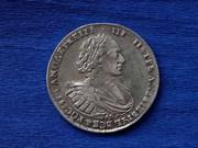 Редкая монета Рубль 1721 год.Ошибка в надписи на гурте МОСКОВЬCKN