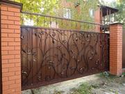 Откатные ворота,  забор из профнастила