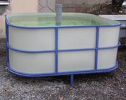 Бассейн для рыборазведения объем 3, 6 м3 полипропилен.