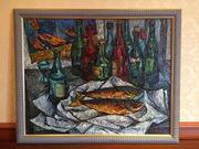 Ю.И.Талдыкин натюрморт с двумя рыбами и бутылками