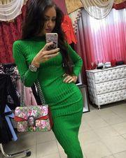 Вязаное теплое платье Лапша